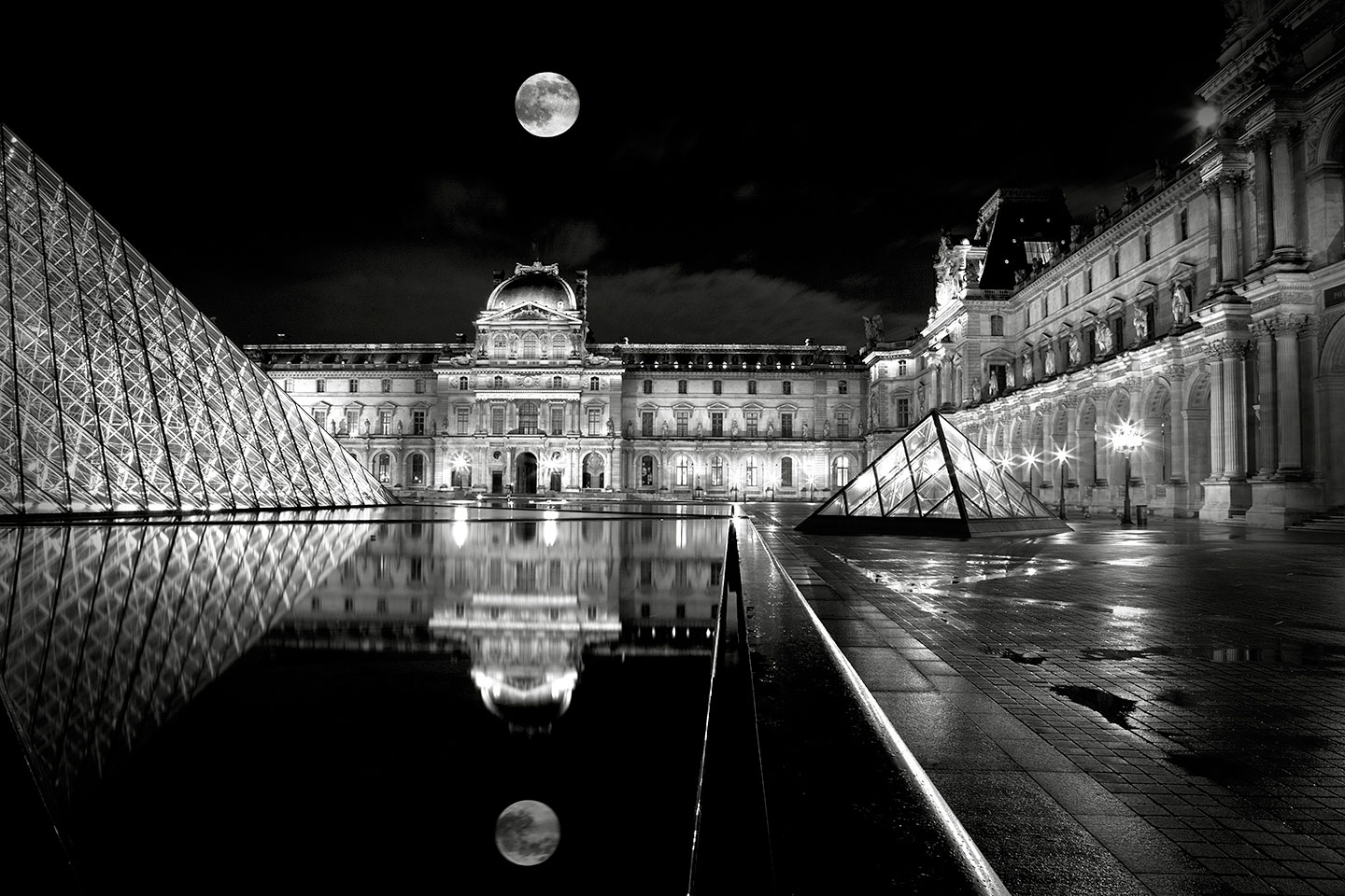 Full moon over Louvre museum
