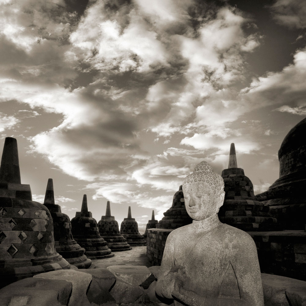 Statue of Buddha in Stupas at Borbudur Temple II, Yogyakarta, Indonesia